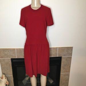 Elie Tahari Crew Neck ShortSleeve Drop Waist Dress